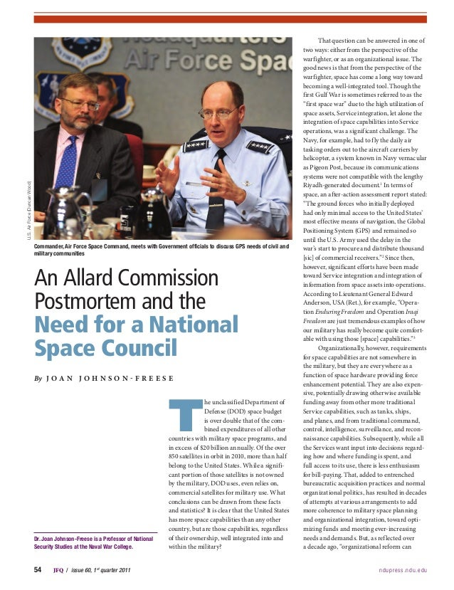 54JFQ/issue 60, 1stquarter 2011 ndupress.ndu.eduThe unclassified Department ofDefense (DOD) space budgetis over dou...