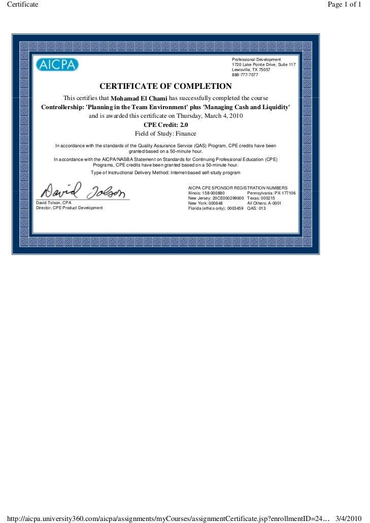 Cpe Certificates
