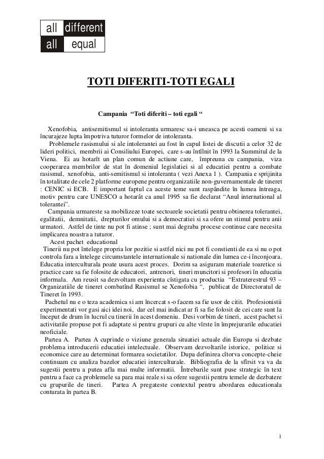 """all different equalall 1 TOTI DIFERITI-TOTI EGALI Campania """"Toti diferiti – toti egali """" Xenofobia, antisemitismul si into..."""