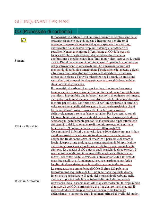 GLI INQUINANTI PRIMARI CO (Monossido di carbonio)  Sorgenti  Effetti sulla salute  Ruolo in Atmosfera  Il monossido di car...