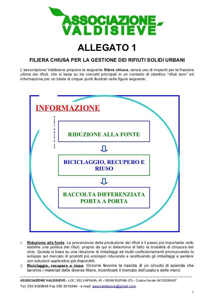 ALLEGATO 1     FILIERA CHIUSA PER LA GESTIONE DEI RIFIUTI SOLIDI URBANIL'associazione Valdisieve propone la seguente filie...