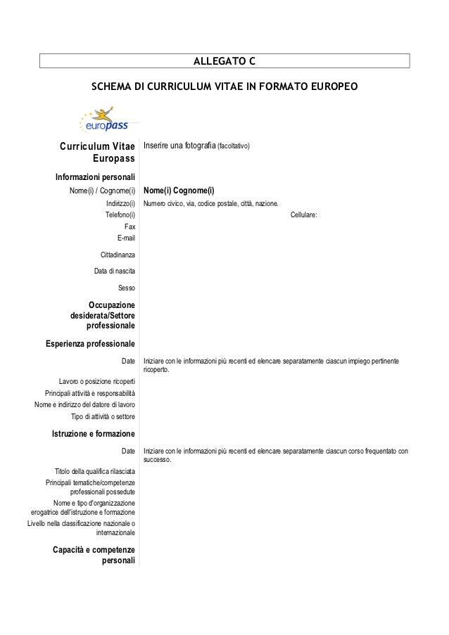 Allegato c -schema_di_curriculum_vitae_formato_europeo