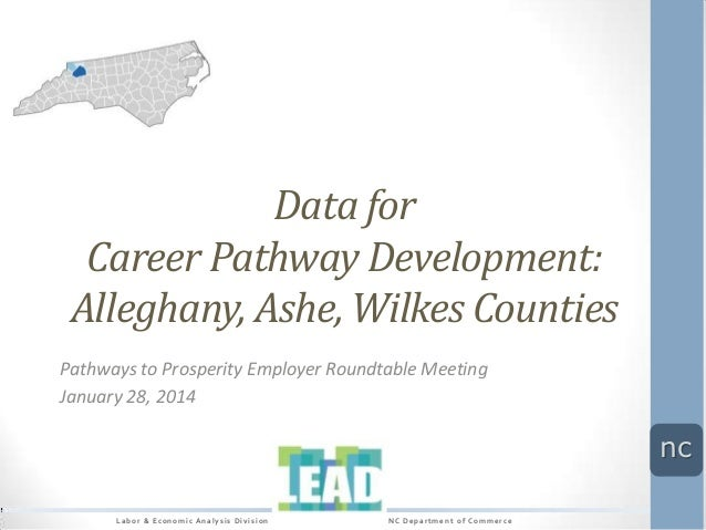 Data for Career Pathway Development: Alleghany, Ashe, Wilkes Counties Pathways to Prosperity Employer Roundtable Meeting J...