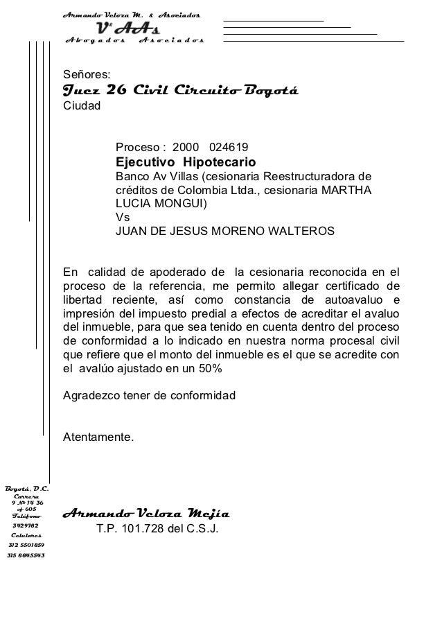 Armando Veloza M.   &   Asociados               Abogados        Asociados               Señores:               Juez 26 Civ...