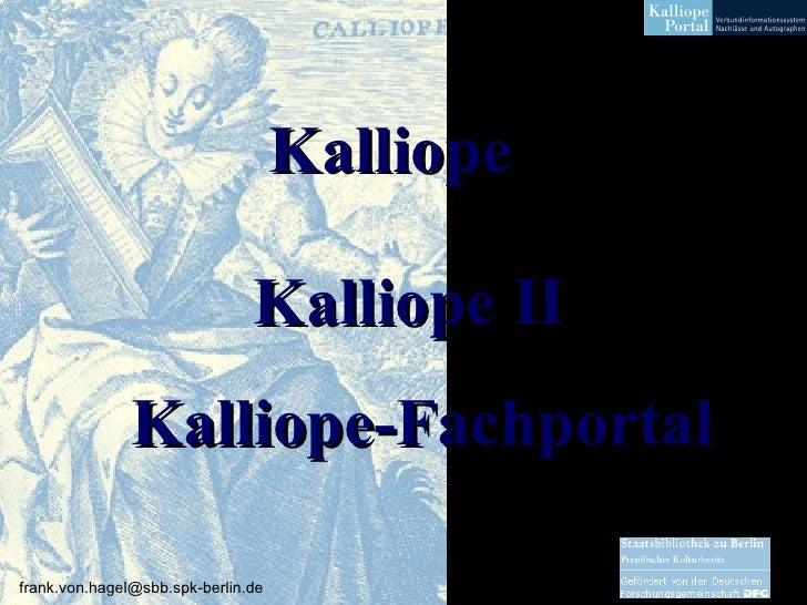 Kalliope Kalliope II Kalliope-Fachportal