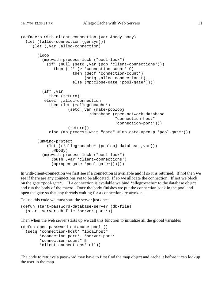 AllegroCache with Web Servers