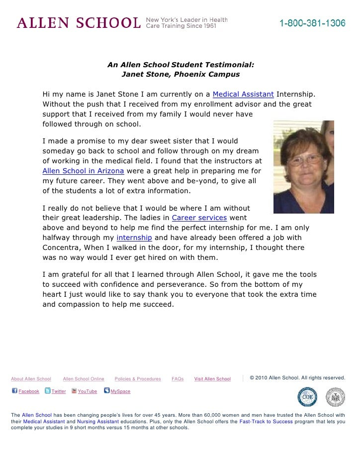 -695325-262890<br />An Allen School Student Testimonial: <br />Janet Stone, Phoenix Campus<br />4886325600075Hi my name is...