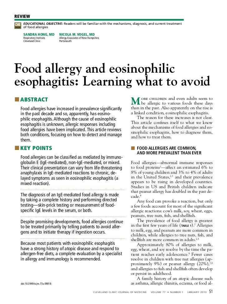 Allergia alimentare ed esofagite eosinofila. Imparare cosa evitare