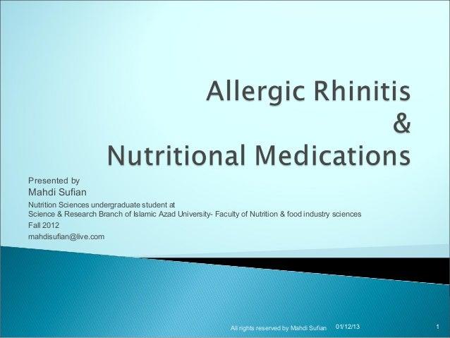 Allergic rhinitis & nutritional medications