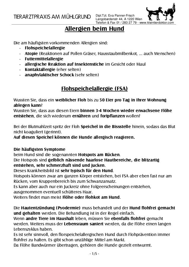 TIERARZTPRAXIS AM MÜHLGRUND Dipl.Tzt. Eva Panner-Frisch Langobardenstr 44, A 1220 Wien Telefon & Fax 01 / 283 27 79 - www....