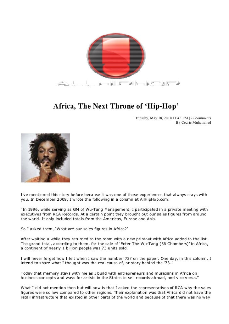 Africa, The ext Throne of 'Hip-Hop'                                                           Tuesday, May 18, 2010 11:43 ...