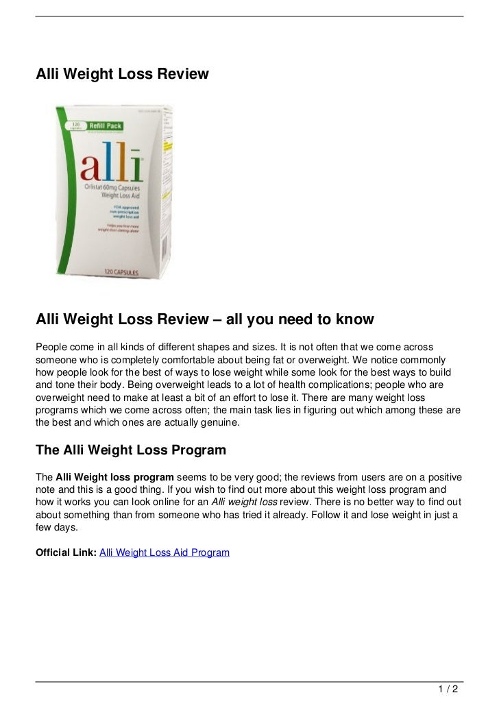 Alli reviews weight loss