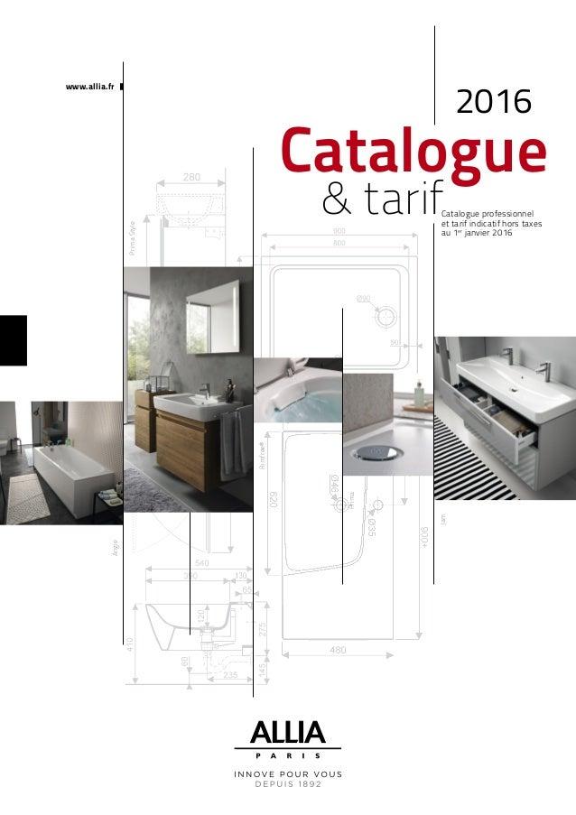 Catalogue tarif allia 2016 salle de bains for Catalogue salle de bain