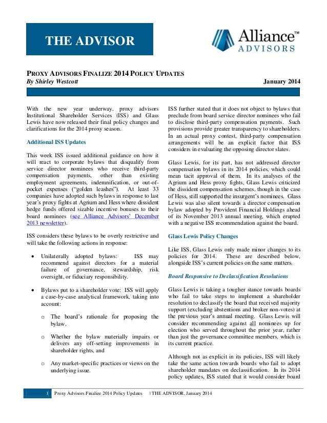 Alliance Advisors Newsletter Jan. 2014 (Proxy Advisors Finalize 2014 Policy Updates)