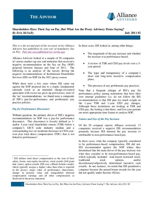 Alliance Advisors Newsletter July 2011 (Say on Pay Recap Part 2)