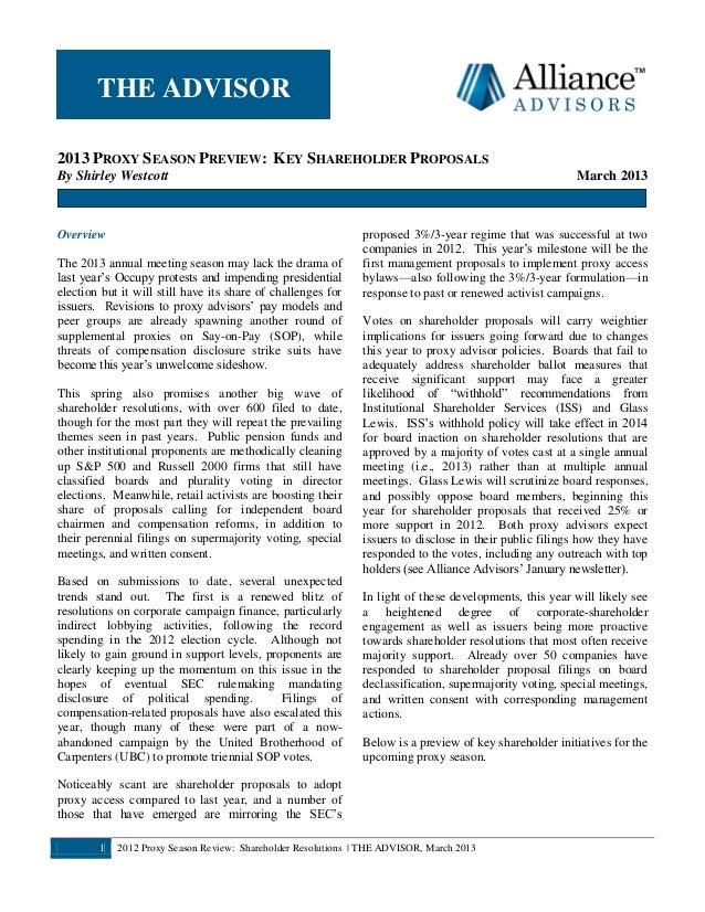 Alliance Advisors Newsletter Mar. 2013 (2013 Proxy Season Preview - Key Shareholder Proposals)