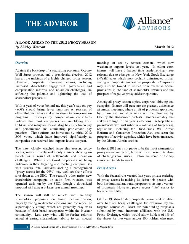 Alliance Advisors Newsletter March 2012 (A Look Ahead to the 2012 Proxy Season)