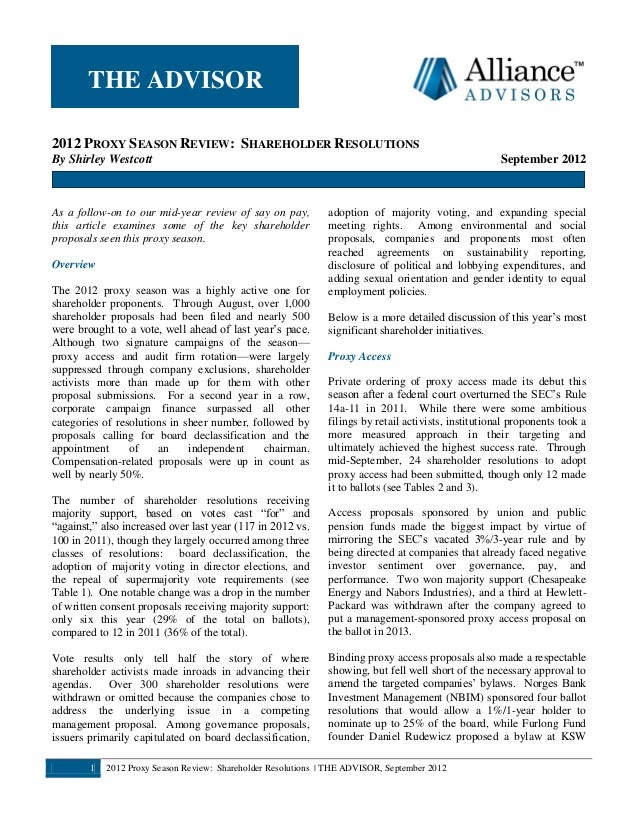 1 2012 Proxy Season Review: Shareholder Resolutions | THE ADVISOR, September 2012 2012 PROXY SEASON REVIEW: SHAREHOLDER RE...