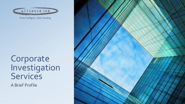 Alliance one corporate investigation services