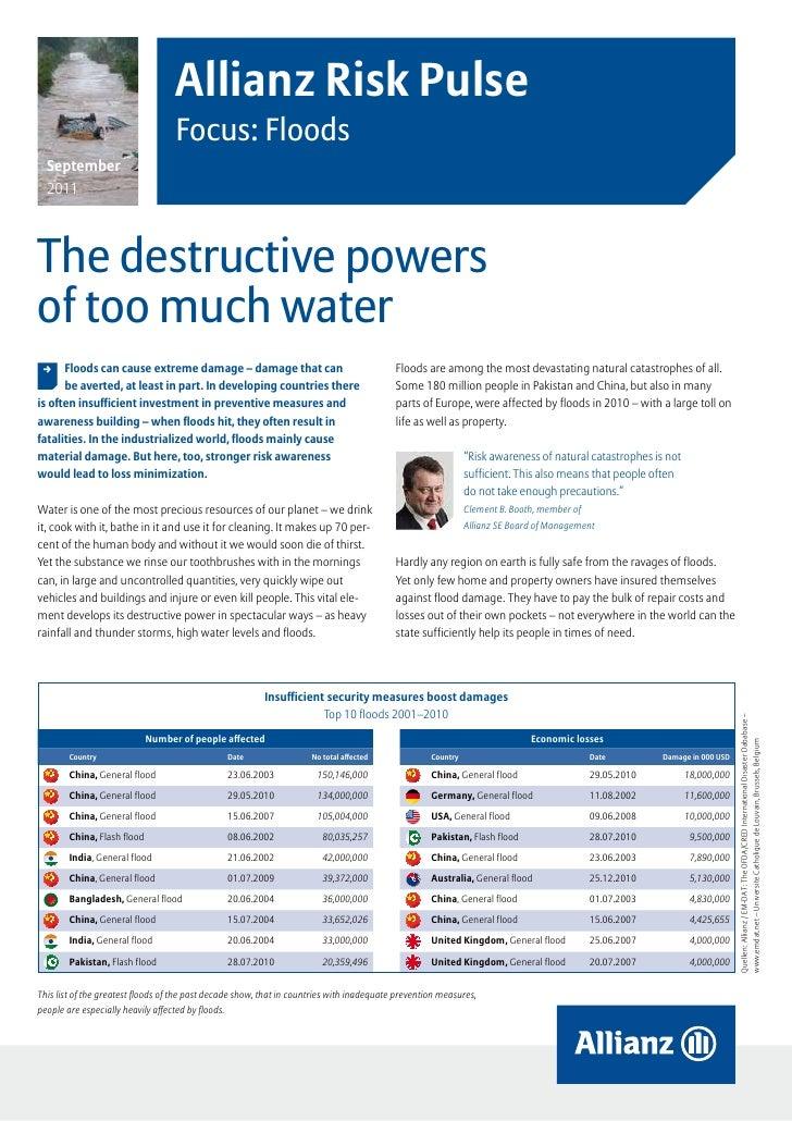 Allianz Risk Pulse                                   Focus: Floods  September  2011The destructive powersof too much water...