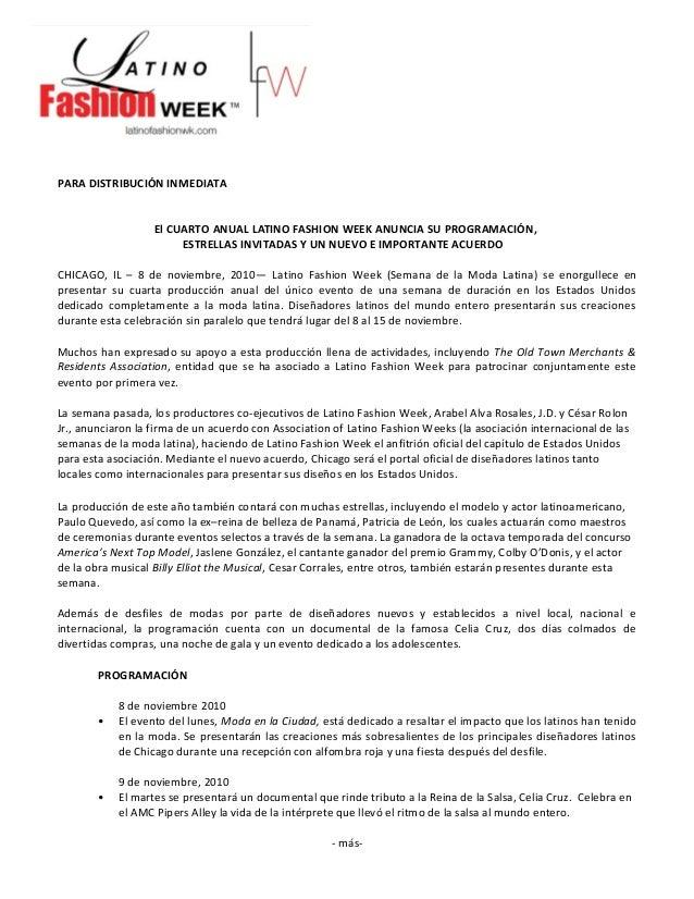 PARA DISTRIBUCIÓN INMEDIATA El CUARTO ANUAL LATINO FASHION WEEK ANUNCIA SU PROGRAMACIÓN, ESTRELLAS INVITADAS Y UN NUEVO E ...