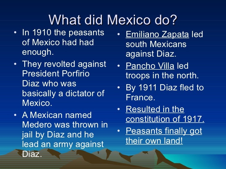 an overview of the mexican revolution and the bad presidency of porfirio diaz Introduction essentially the outbreak of the mexican revolution had spawned  an era  what was the best interest of one nation, was the worst interest for the  other  francisco madero was later elected president in the fall.