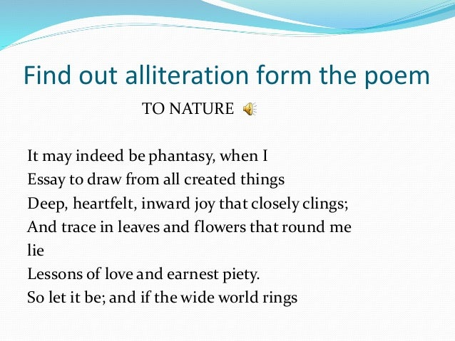 Alliteration poems about nature