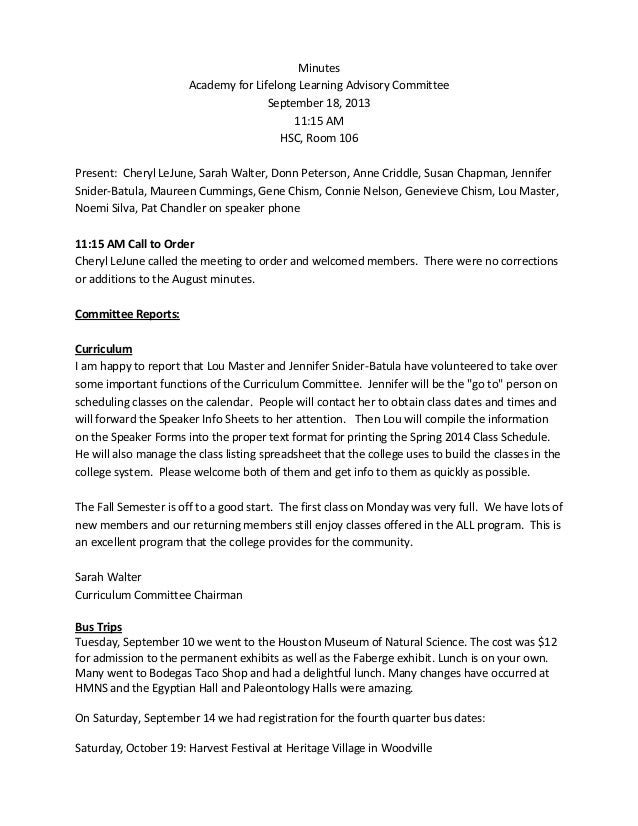 Minutes Academy for Lifelong Learning Advisory Committee September 18, 2013 11:15 AM HSC, Room 106 Present: Cheryl LeJune,...