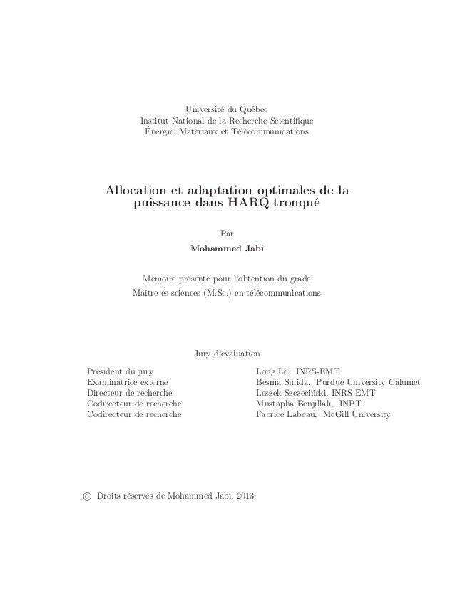 Université du Québec Institut National de la Recherche Scientifique Énergie, Matériaux et Télécommunications Allocation et ...