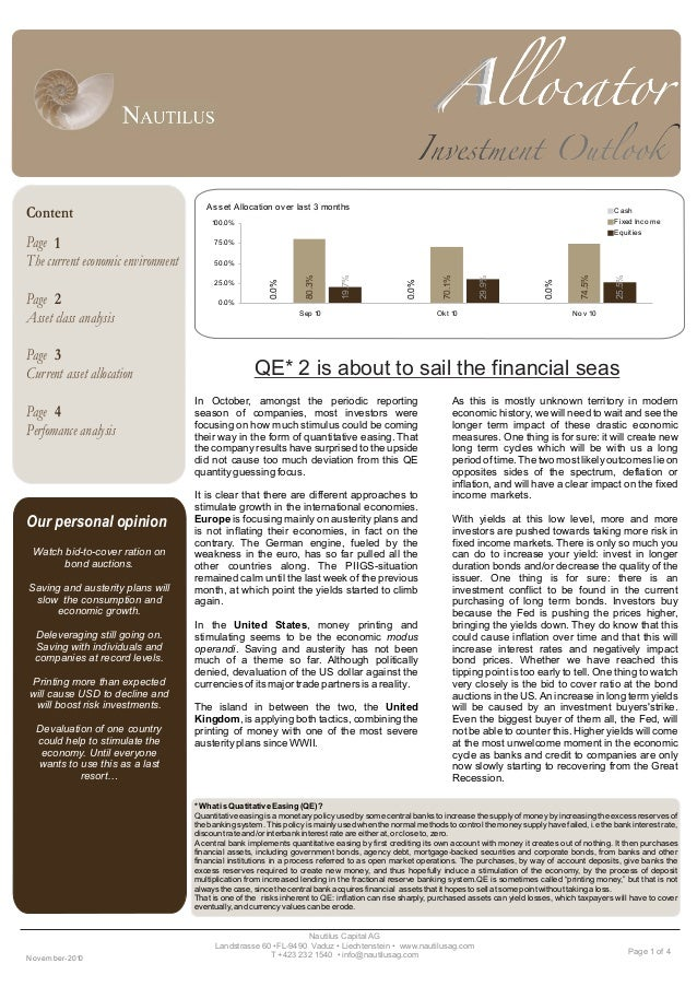 Page 1 of 4 Page The current economic environment Page Asset class analysis Page Current asset allocation Page Perfomance ...