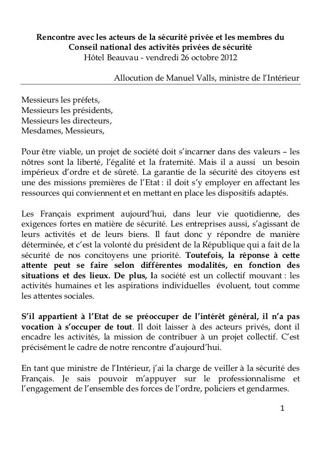 Allocution du manuel valls, ministre de l'intérieur 6 octobre-20124