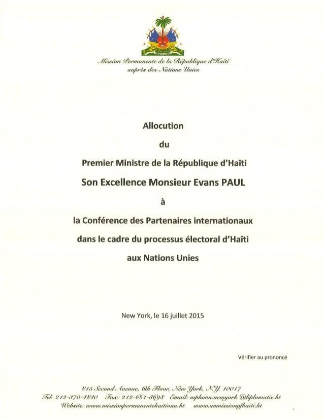 Allocution du premier ministre à l'ONU.