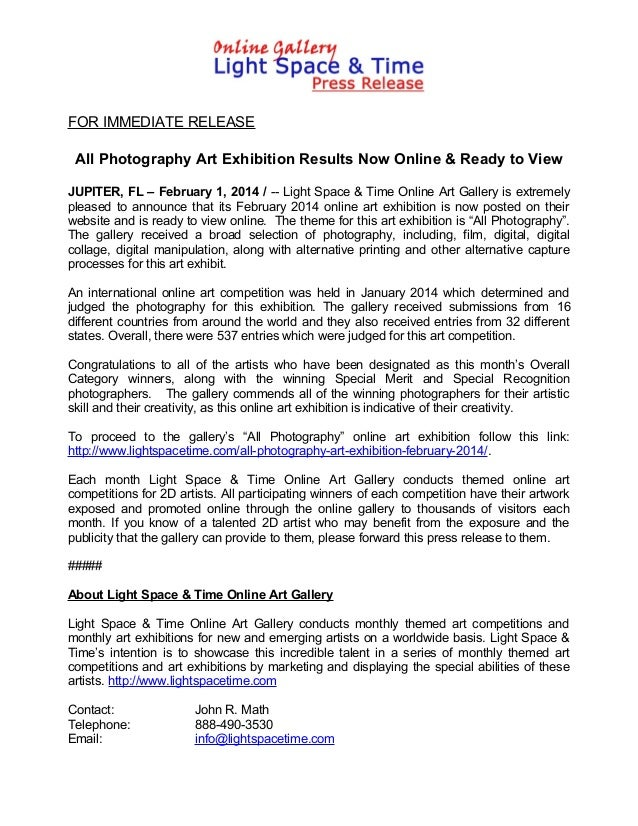 FOR IMMEDIATE RELEASE  All Photography Art Exhibition Results Now Online & Ready to View JUPITER, FL – February 1, 2014 / ...