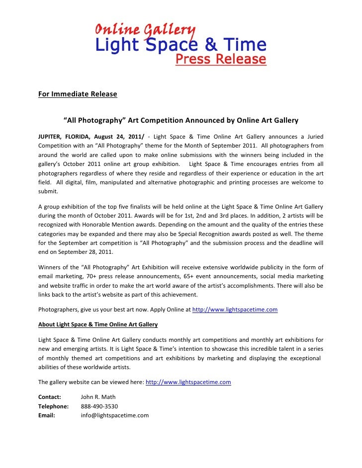 """For Immediate Release         """"All Photography"""" Art Competition Announced by Online Art GalleryJUPITER, FLORIDA, August 24..."""