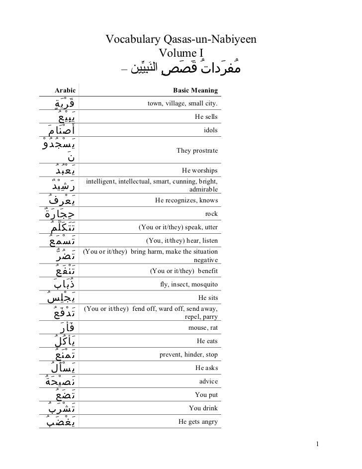Vocabulary Qasas-un-Nabiyeen                                                          Volume I                            ...