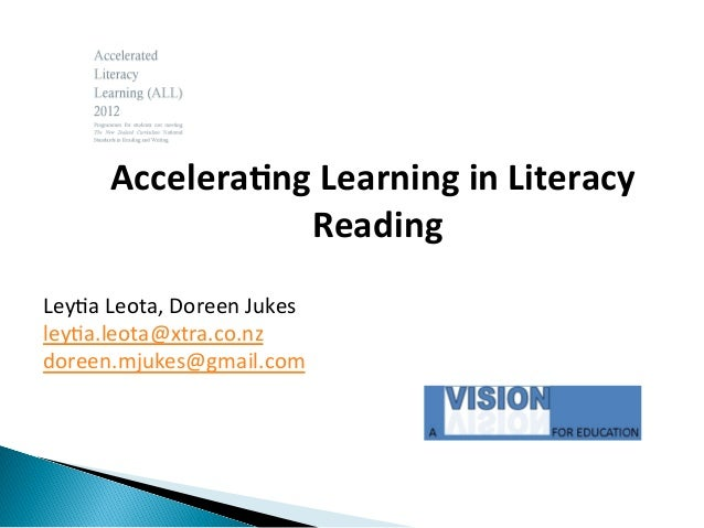 Accelera'ng  Learning  in  Literacy     Reading     Ley$a  Leota,  Doreen  Jukes   ley$a.leota@xtra....