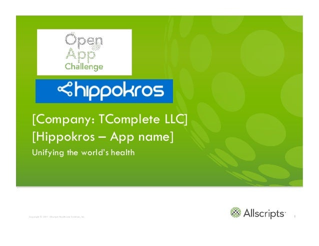 [Company: TComplete LLC]   [Hippokros – App name]   Unifying the world's health[Carl Finch/Founder carl@hippokros.com]Copy...