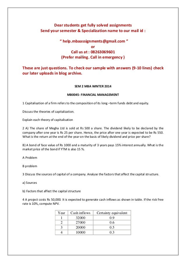 free solved mba assignments smu