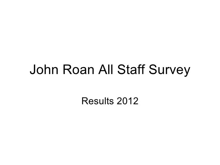 John Roan All Staff Survey        Results 2012