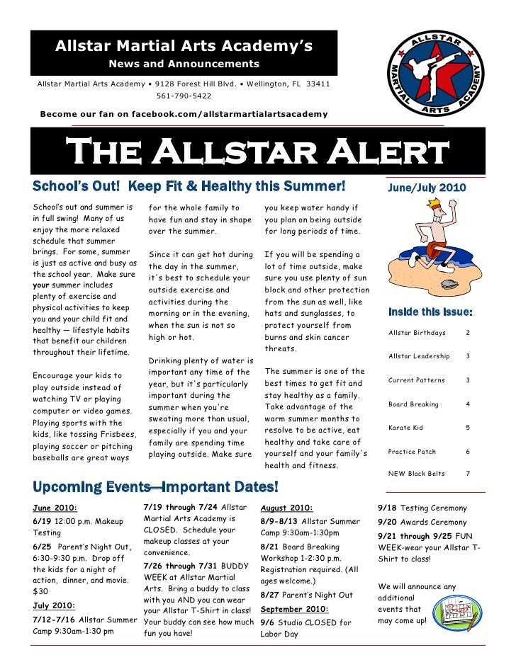 Allstar  Martial  Arts  Academy  June  July 2010  Newsletter