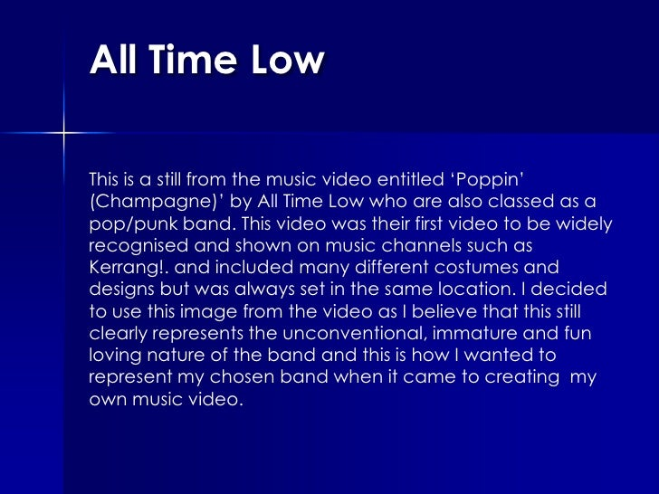 All Time Low<br />This is a still from the music video entitled 'Poppin' (Champagne)' by All Time Low who are also classed...