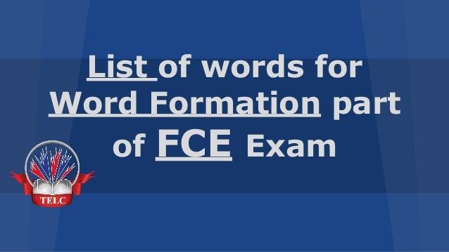 word formation list fce pdf