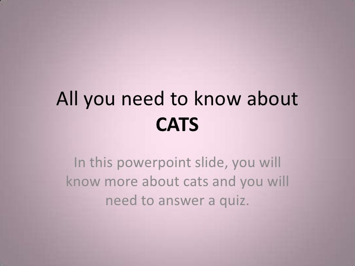 All you need to know aboutCATS<br />In this powerpoint slide, you will know more about cats and you will need to answer a ...