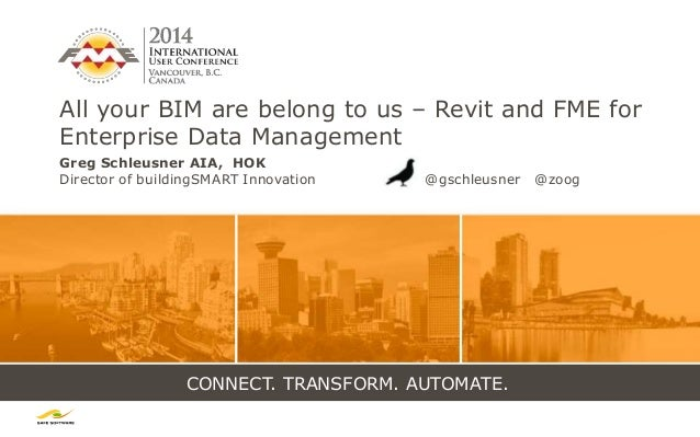 CONNECT. TRANSFORM. AUTOMATE. All your BIM are belong to us – Revit and FME for Enterprise Data Management Greg Schleusner...