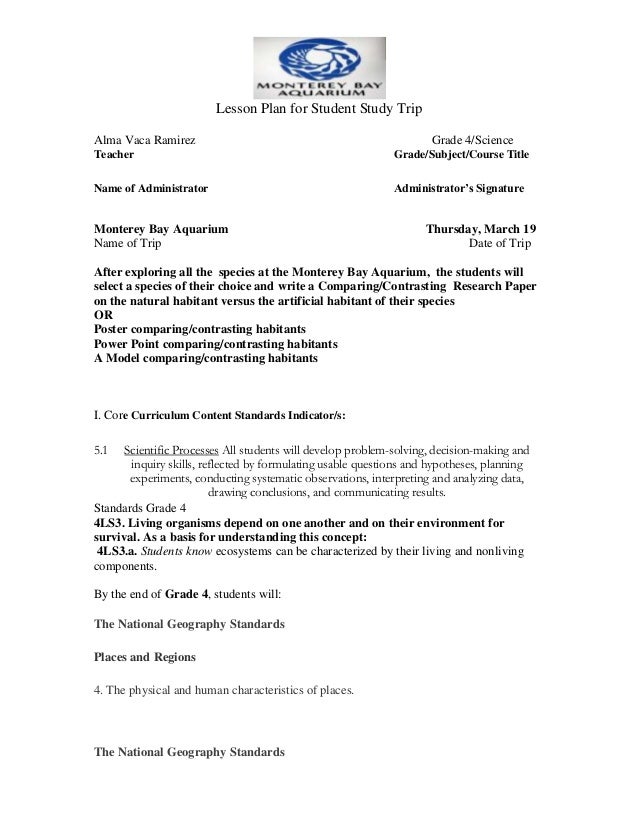 Lesson Plan for Student Study TripAlma Vaca Ramirez                                                    Grade 4/ScienceTeac...
