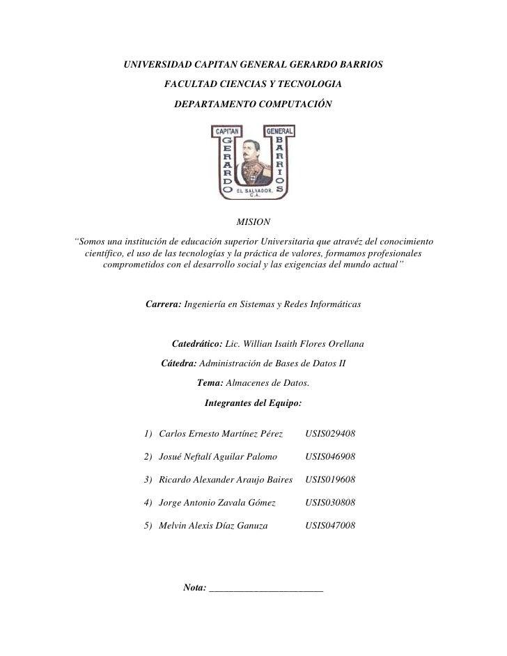 UNIVERSIDAD CAPITAN GENERAL GERARDO BARRIOS<br />FACULTAD CIENCIAS Y TECNOLOGIA<br />DEPARTAMENTO COMPUTACIÓN<br />2158365...