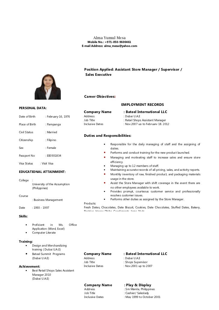 resume sample for dubai