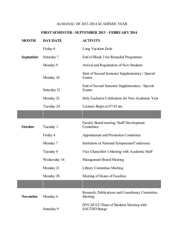 ALMANAC OF 2013-2014 ACADEMIC YEAR FIRST SEMESTER : SEPTEMBER 2013 – FEBRUARY 2014 MONTH DAY/DATE ACTIVITY Friday 6 Long V...