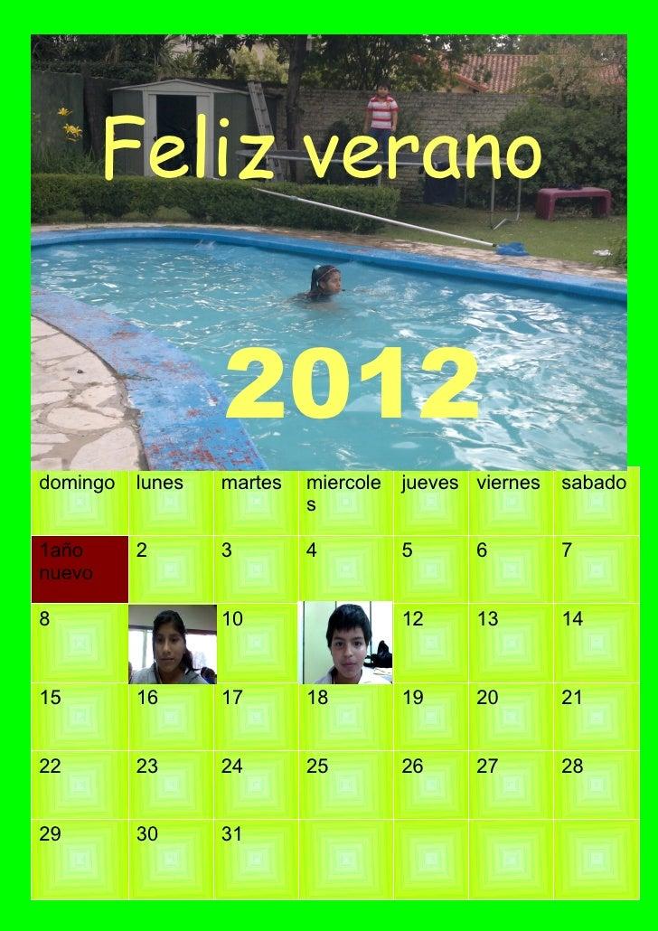 Feliz verano                  2012domingo   lunes   martes   miercole   jueves viernes   sabado                           ...