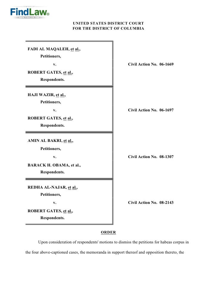UNITED STATES DISTRICT COURT                            FOR THE DISTRICT OF COLUMBIA      FADI AL MAQALEH, et al.,        ...